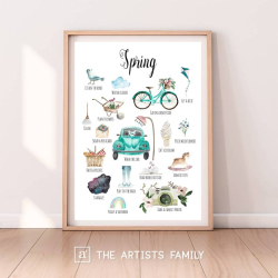 SPRING | Downloadable Prints | Watercolor | Montessori Educational Poster for Kids | Children Room | Boys Girls Children Rooms | Learning Painting | Wall Art | Nursery | Fun To Do List | English