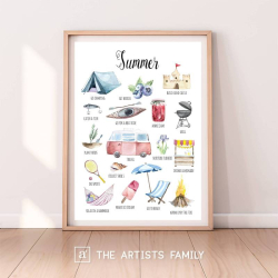 SUMMER | Downloadable Prints | Watercolor | Montessori Educational Poster for Kids | Children Room | Boys Girls Children Rooms | Learning Painting | Wall Art | Nursery | Fun To Do List | English