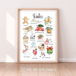 Winter | Downloadable Prints | Watercolor | Montessori Educational Poster for Kids | Children Room | Boys Girls Children Rooms | Learning Painting | Wall Art | Nursery | Fun To Do List | Four Seasons | English