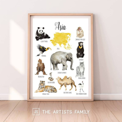ASIA Continent Animals | Downloadable Prints | Watercolor | Asian Montessori Educational Poster for Kids | Children Room | Boys Girls Children Rooms | Learning Painting | Illustration | English