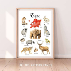 EUROPE Continent Animals | Downloadable Prints | Watercolor | European Montessori Educational Poster for Kids | Children Room | Boys Girls Children Rooms | Learning Painting | Illustration | English