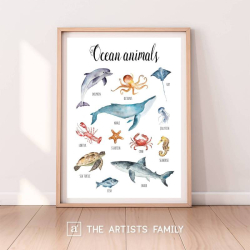 Ocean Animals | Downloadable Prints | Watercolor | Montessori Educational Poster for Kids | Children Room | Boys Girls Children Rooms | Learning Painting | Illustration | Sea | English