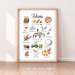 AUTUMN Fall | Downloadable Prints | Watercolor | Montessori Educational Poster for Kids | Children Room | Boys Girls Children Rooms | Learning Painting | Wall Art | Nursery | Fun To Do List | Seasons | English