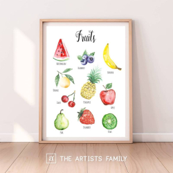 Fruits | Downloadable Prints | Watercolor | Montessori Educational Poster for Kids | Children Room | Learning Painting | Food | Kitchen | Berries | Garden | English
