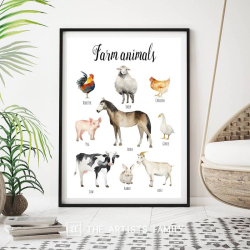 Farm Animals | Downloadable Prints | Watercolor | Montessori Educational Poster for Kids | Children Room | Boys Girls Children Rooms | Learning Painting | Illustration | English
