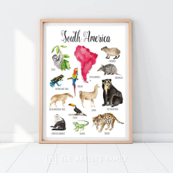 SOUTH AMERICA Continent Animals | Downloadable Prints | Watercolor | SOUTH AMERICAN Montessori Educational Poster for Kids | Children Room | Boys Girls Children Rooms | Learning Painting | Illustration | English