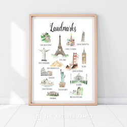 LANDMARKS | Downloadable Prints | Watercolor | Montessori Educational Poster for Kids | Children Room | Boys Girls Children Rooms | Learning Painting | Wall Art | Nursery | Texts | World | English