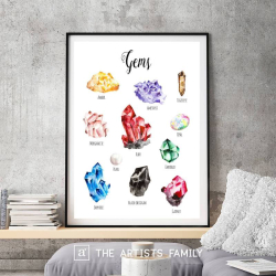Gems | Gemstone | Downloadable Prints | Watercolor | Montessori Educational Poster for Kids | Children Room | Boys Girls Children Rooms | Learning | Home | School | Stones | English