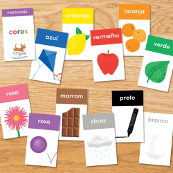 PORTUGUESE Colors Flashcards | PORTUGUÊS Cores | Printable Flash Cards | Learn Colors in Portuguese | Homeschool, Classroom | Learning Resource | Language Learning Market