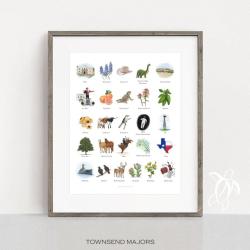 Illustrated Texas-themed Alphabet Poster | English Alphabet | Art Print | Wall Art | English for Kids | Digital Print | Classroom Decorations | Language Learning Market