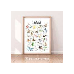 ALPHABET | Downloadable Prints | Watercolor | Montessori Educational Poster for Kids | Children Room | Boys Girls Children Rooms | Learning Painting | Wall Art | Decor | Nursery | Seasons | English