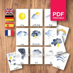 WEATHER Flash Cards | Watercolor Planets | Montessori | Educational Resource | Homeschooling | PDF | German Spanish French English | Multilingual | Kids Art