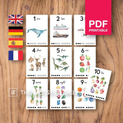 NUMBER Flash Cards | Watercolor | Montessori | Educational Resource | Homeschooling | PDF | German Spanish French English | Multilingual | Kids Art  | Realistic Animals | Learning 123