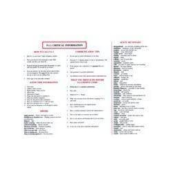 Hot Sheet of Critical Information for Deaf 9-1-1 Callers   Critical Information for Deaf   Dictionary of Emergency Terms   Deaf and Hard of Hearing