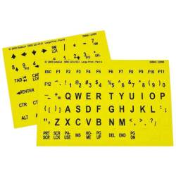Large Print Keyboard Top Stickers | Yellow Background | Non-Transparent | Oversized Characters | Visually Impaired and Low Vision | Computer Keyboard Stickers Labels | English