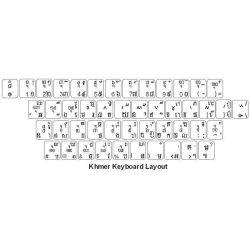 Khmer Keyboard Stickers   Khmer Language Keyboard Stickers   Transparent    WHITE or BLUE Characters   Computer Keyboard Stickers Labels   Khmer - ខ្មែរ