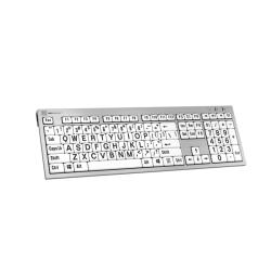 LargePrint PC Slim Line Keyboard | Black Jumbo Letters on White Keys | Visually Impaired | International Keyboards Large Keys | English Keyboard | Uppercase letters | Computer Keyboard | Typing
