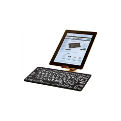 LargePrint White on Black - Mac Bluetooth Mini Keyboard | International Keyboards Large Keys | English Keyboard | Uppercase letters | Computer Keyboard | Typing