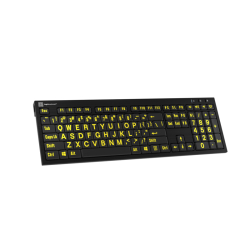 LargePrint Yellow on Black - PC Nero Slim Line Keyboard  | International Keyboards Large Keys | English Keyboard | Uppercase letters | Computer Keyboard | Typing