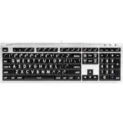 LargePrint White on Black - Mac ALBA Keyboard  | International Keyboards Large Keys | English Keyboard | Uppercase letters | Computer Keyboard | Typing