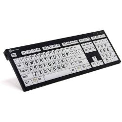 LogicKeyboard XL Print Slim Line Keyboard | Compatible with Windows | Black on White | International Keyboards Large Keys | English Keyboard | Uppercase letters | Computer Keyboard | Typing | LKB-LPRNTBW-AJPU