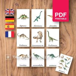 DINOSAURS Flash Cards | Watercolor | Montessori | Educational Resource | Homeschooling | PDF | German Spanish French English | Multilingual | Kids Art