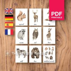 WOODLAND Animals Flash Cards | Watercolor | Montessori | Educational Resource | Homeschooling | PDF | German Spanish French English | Multilingual | Kids Art