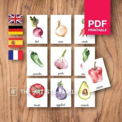 VEGETABLES Flash Cards | Watercolor | Montessori | Educational Resource | Homeschooling | PDF | German Spanish French English | Multilingual | Kids Art