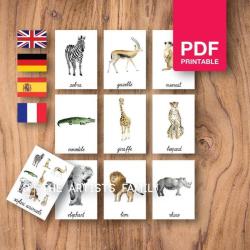 SAFARI ANIMALS Flash Cards | Watercolor | Montessori | Educational Resource | Homeschooling | PDF | German Spanish French English | Multilingual | Kids Art
