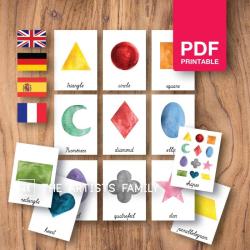 GEOMETRIC SHAPES Flash Cards | Watercolor | Montessori | Educational Resource | Homeschooling | PDF | German Spanish French English | Multilingual | Kids Art
