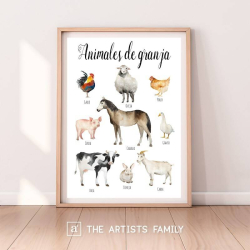 Animales de Granja Espanol Espanol - Spanish | Downloadable Prints | Acuarela | Montessori | Niños | Posters Educativos | Aprender a Pintar | Guardería | Impresos Descargables | Farm | Español - Spanish