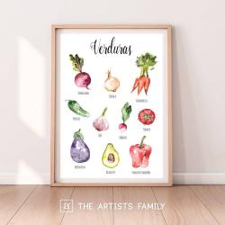 Verduras Espanol - Spanish | Downloadable Prints | Acuarela | Montessori | Niños | Posters Educativos | Aprender a Pintar | Guardería | Impresos Descargables | Español - Spanish