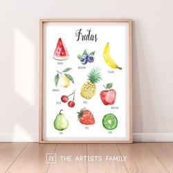 Frutas Espanol - Spanish | Downloadable Prints | Acuarela | Montessori | Niños | Posters Educativos | Aprender a Pintar | Guardería | Impresos Descargables | Español - Spanish