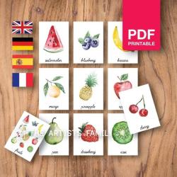 FRUITS Flash Cards | Watercolor | Montessori | Educational Resource | Homeschooling | PDF | German Spanish French English | Multilingual | Kids Art