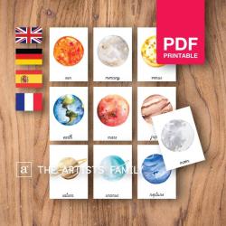 SOLAR SYSTEM Flash Cards | Watercolor Planets | Montessori | Educational Resource | Homeschooling | PDF | German Spanish French English | Multilingual | Kids Art