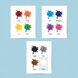 COLORS SPLASH | Printable flashcards for kids | Homeschool | Color names Cards For Kids | Homeschool shape names practice
