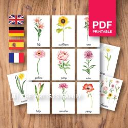 FLOWERS | Botanical Flash Cards | Watercolor | Montessori | Educational Resource | Homeschooling | PDF | German Spanish French English | Multilingual | Kids Art