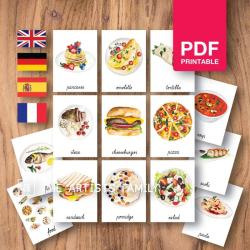 FOOD MEAL DISH | Culinary Flash Cards | Watercolor | Montessori | Educational Resource | Homeschooling | PDF | German Spanish French English | Multilingual | Kids Art