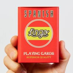 Spanish Playing Cards | Sturdy Travel Case | Bilingual English - Spanish Travel Phrases | Spanish Flag Cards | Language Learning Game Set | Useful Spanish Phrases | Language Learning Market