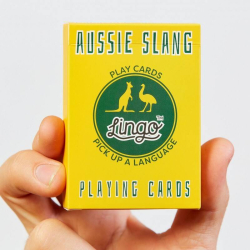 Aussie Slang Playing Cards | Language Learning Game Set | Fun Visual Flashcard Deck | Increase Vocabulary and Pronunciation Skills | Useful Aussie Slang Phrases | Lingo Playing Cards