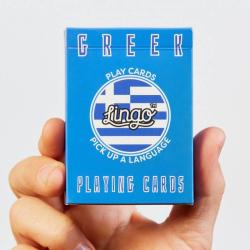 Learn Greek Playing Cards | Original Paper Packing | Bilingual English - Greek Phrases | Ελληνικά Greek Flag | Game Set | Useful Ελληνικά Greek Travel Phrases | Language Learning Market