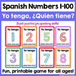 Learn Spanish Numbers 1-100 | Printable Game | Yo Tengo Quién Tiene | Learn to Count | Los Números | Juegos en Español | Spanish Cards | Spanish - Español | Language Learning Market