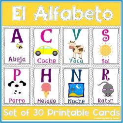 Spanish Alphabet | Printable Poster Cards | Letters Spanish Alphabet | Abecedario en Español | Educational Cards | Dual-language Classroom | Español - Spanish | Language Learning Market