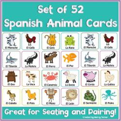 Spanish Animals Printable Flash Cards | Animales en Español | Teach Kids Spanish | Spanish Vocabulary | Español - Spanish Flashcards | Language Learning Market