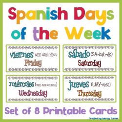 Spanish Days of the Week Flashcards | Días de la Semana | Printable Flash Cards | Spanish Vocabulary | Español - Spanish | Language Learning Market