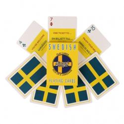 Learn Swedish Playing Cards | Original Paper Packing | Bilingual English - Swedish Travel Phrases | Svenska Swedish Flag | Game Set | Useful Svenska Swedish Phrases | Language Learning Market