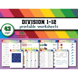 Workbook - Division 1 to 12 | Grade 4 | Math | School | 43 pages | 40 Worksheets | Educational | Rainbow colors | Printable | Digital download | Smart Owl Prints