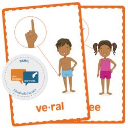 Tamil தமிழ் - Body Parts Flashcards | School Resources | Montessori Flash Cards | Bilingual Education | Human Body | Teach Kids Tamil | Language Learning Market