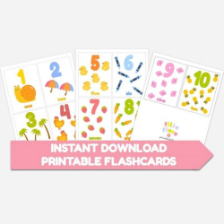 Counting Flashcards Numbers 1-10  Printable  Learn to Count  Instant Download  Math Counting  Toddler Education  Numbers  Montessori Learning Resource