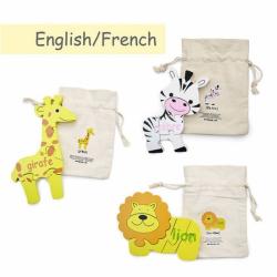 French + English Safari Puzzle Set | Bilingual Puzzle | Wooden Toy | Montessori Learning | French Language Toys | Play Set | Language Learning Market